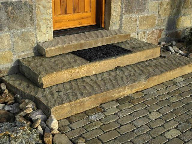 Stufenplatten Kalkstein Oliv Gelb Braun